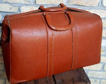 Split Cowhide Leather Doctor's Bag with Locking Zipper