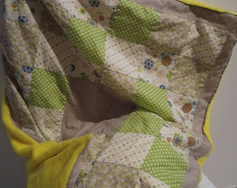 Yellow and green patchwork, and customizable minkee blanket