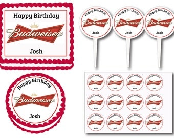 Budweiser  Beer Bottles Birthday Party Edible Cake Cookie Toppers or Plastic Cupcake Pick Stickers Decoration Baking Supply