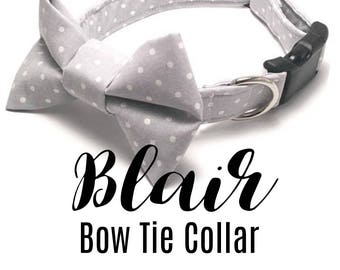 LivyDog ™ Dog Bow Tie Collar, Polka Dot Dog Collar, Dog Collar, Dog Collar Bows, Adjustable Dog Collar, Dog Collars for Weddings, The Blair