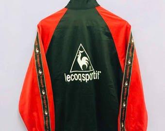 FREE SHIPPING!!! Vintage Le Coq Sportif Jacket Zipper Embloidery Big Logo Side Tape Medium Size