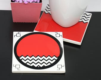 Twin Peaks Inspired coaster, Black/White lodge,