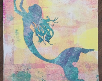 Original mermaid art collage card