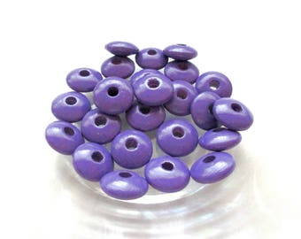 50 wooden flat pacifier - purple beads