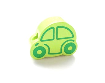 Small car - lime green wooden bead