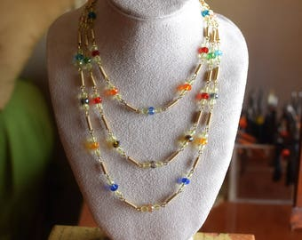 Multi colored Crystal beads necklace