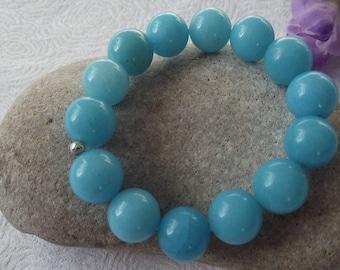 Blue Quartzite Stretch Bracelet 14mm Rounds