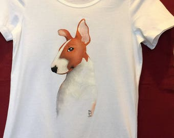 Hand-painted T-shirt with puppy