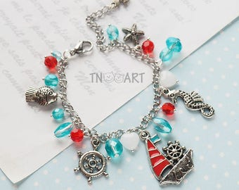 Sea style Chain Bracelet/ handmade jewelry silver color chain charm bracelet сrab anchor turtle yacht fish charms blue cyan red color