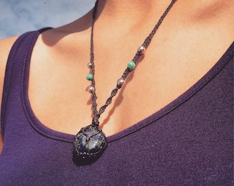 Azurite & Malachite Macrame Necklace
