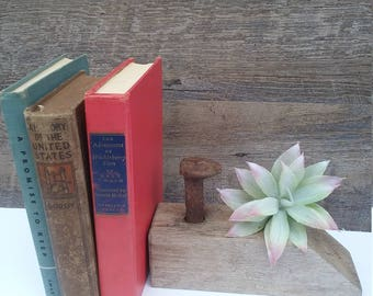 Weathered Railroad Spike/Rusty Spike On Weathered wood/Rustic Book End/Farmhouse Decor/Railroad Spike Hook/Rusty Accent Pieces