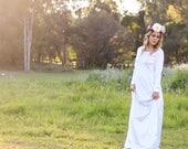 LDS Temple Dress, Temple Dresses, white dress, wedding dress, modest dress, dress with sleeves, white maxi dress, maternity shoot dress