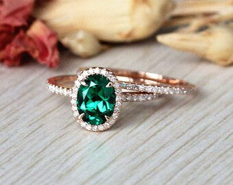 Just Great,14k Rose Gold Emerald Engagement Ring Set,6x8mm Oval Emerald Ring Set,Solid Rose Gold Wedding Ring,Anniversary Ring,Match Band