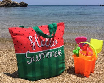 Beach bag, Canvas bag, Watermelon