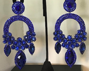 Long Royal Blue Crystal Chandelier Earrings Pierced