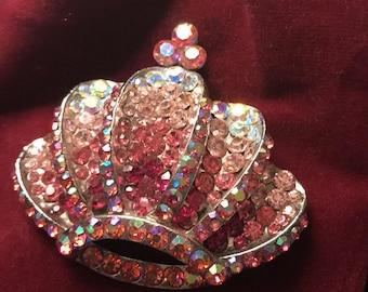 Ombre  Crystal Crown Pin  sash Pin