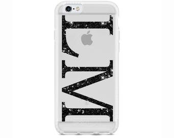 Personalised Black Glitter initials Gel Phone Case for Apple iPhone 5 6 6s 7 8 Plus & Samsung Galaxy Personalized Customized Monogram