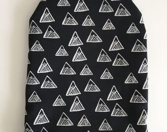Ready to ship, ostomy bag cover, triangles, solid black on the back