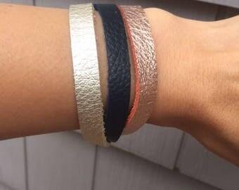 Boho Leather Bracelet for Women, Rose, Navy and Pearl Leather Bracelet, Women's Boho Bracelet, Custom Leather Bracelet for Women