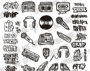 Hip Hop Elements vol.1 - Vector file : Eps,Ai,Svg,Png,Jpg - Vector design - Hip Hop , Rap , Mc , Dj , Graffiti , b-boy , break dance,music
