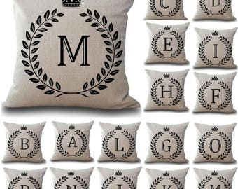 Efashionmx Crown Letter A to Z Pillow Cushion Covers Letter Cushions Alphabet Cushions