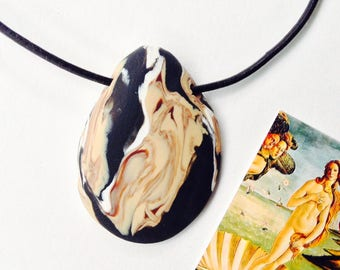 BOTTICELLI 126 Famous Paintings Necklace Unique Handmade Artistic Pendant Stone Adjustable Leather Cord Perfect Gift for Her