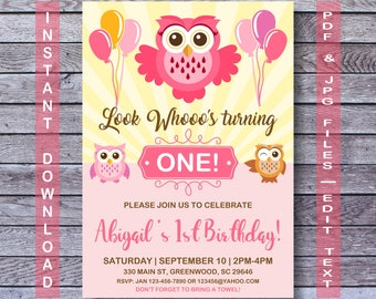 Owl Birthday Invitation, Owl Invitation, INSTANT DOWNLOAD, Pink owl invitation, Owl party,  Girl Owl Birthday Invitation, Girl Owl Birthday