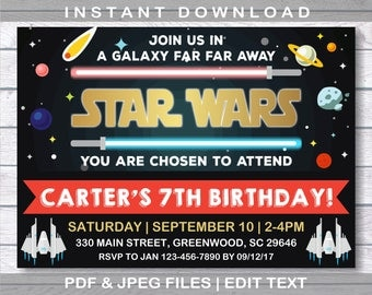 Star Wars Einladung, Star Wars Geburtstag, Instant Download, Star Wars  Party,