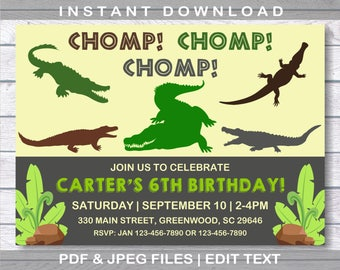 Alligator invitation, Crocodile invitation, INSTANT DOWNLOAD, Alligator Invitation, Alligator Birthday Party, Alligator Invitation,Alligator