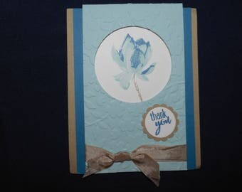 THANK YOU CARD flower in blue tones and taupe. Hand stamped, handcrafted, stampinup