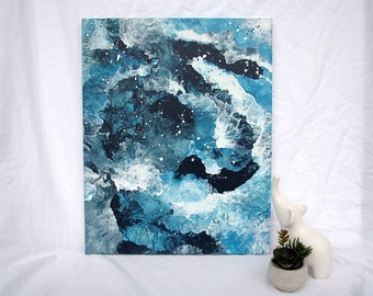 Blue Swirl Abstract Acrylic Painting on Canvas