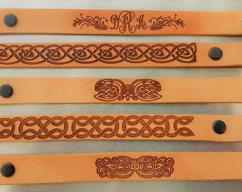 Monogram Leather Bracelets or Engraved Celtic Pattern