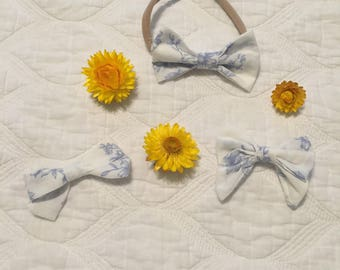 White and Blue Vintage Floral Headbands and Hair Bows for Babies and Girls