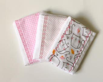 Set of Three Beautiful Embroidered Burp Cloths