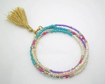 Wrap bracelet,boho wrap bracelet,Beaded wrap bracelet,multicolor bracelet,seedbead bracelet,boho bracelet,tassel bracelet,gift for her