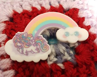 Unicorn jumping over the rainbow brooch/ pin badge