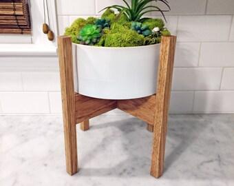 "Mid Century Modern Oak Plant Stand 12"" tall"