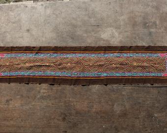 Shipibo Embroidered Brown Table Runner