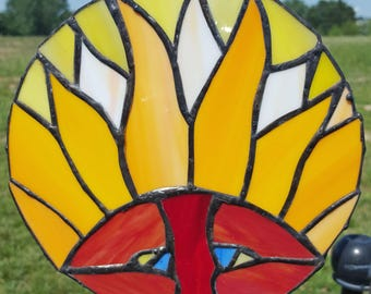 Handcrafted Stained Glass Mask Art Hanging/Suncatcher