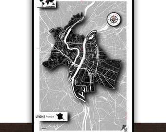 Lyon Map Poster Poster Art print Map Impression Design Cartography