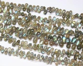 "Labrodorite Fire Smooth Briolette Tear Drop Gemstone Craft Loose Beads Strand 9"" 10mm 7mm"