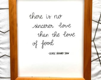 George Bernard Shaw Quote, DIGITAL DOWNLOAD, Kitchen Inspiration, Hand Lettered Food Quote, Kitchen Art
