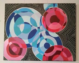Abstract Circles, circle painting, circle art, overlapping circles, ripples, motion art