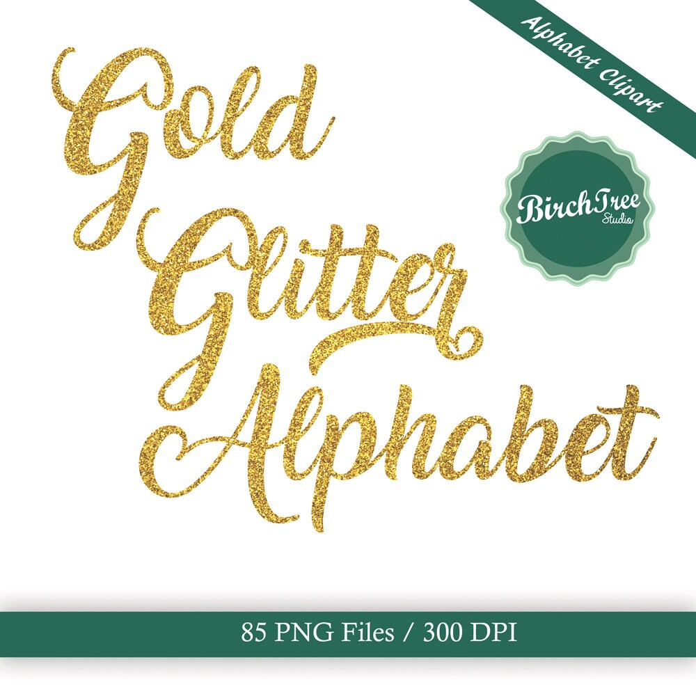 Gold glitter alphabet clipart sparkle letters