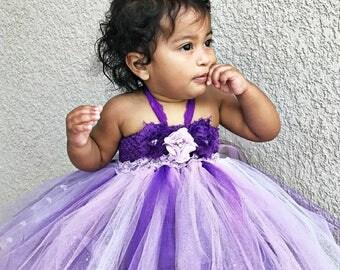 Baby Girls princess dress, purple flower girl dress, flower girl dress, tutu dress,  girls birthday dress, purple dress, newborn dress, tutu