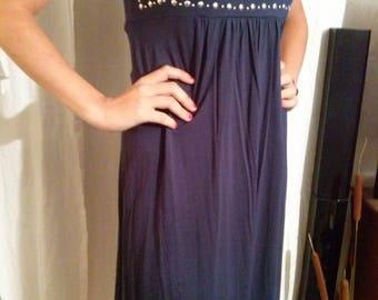Sleeveless Navy Blue viscose dress