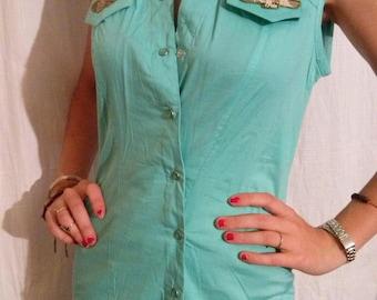 Cotton and spandex green sleeveless shirts