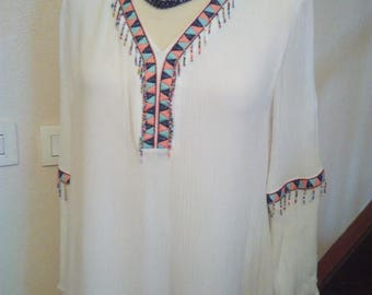 Indian cotton and viscose embroidered pattern dress