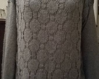 Pullover tunic grey mohair, acrylic and lace color