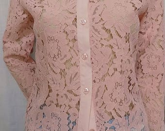 Pink lace long sleeve shirt